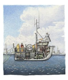 The sockeye are running and this little aluminum gillnetter is out to catch its share in a bay full of boats. The crew is untangling the salmon. Boat Drawing, Ship Drawing, Jon Boat, Boat Dock, Trawler Yacht, Living On A Boat, Fishing Vessel, Below Deck, Boat Art
