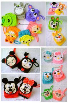 Crochet Coin Purse, Crochet Pouch, Crochet Keychain, Crochet Purses, Crochet Hats, Diy And Crafts, Fun Crafts, Toy Craft, Kids Bags