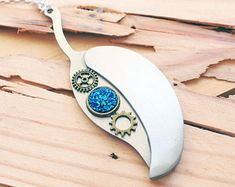 Silver Leaf Knife Necklace - Steampunk Knife Necklace - Druzy Necklace