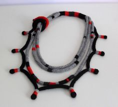 Knitted Necklace Grey Gray Black Red Fiber Art by Silvia66
