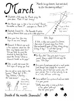 March journaling ideas. She seems to have one for each month on this blog.
