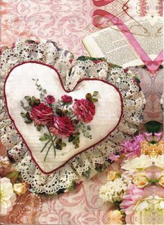 more ribbon embroidery projects Silk Ribbon Embroidery, Cross Stitch Embroidery, Embroidered Roses, Valentine Crafts, Valentines, Fabric Hearts, Heart Pillow, I Love Heart, Embroidery Patterns Free