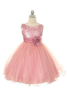 SÓ QUE O BRANCO NWT Graduation Wedding Flower Girl Sequin Spakling Dusty Rose Dress Sz 2-14
