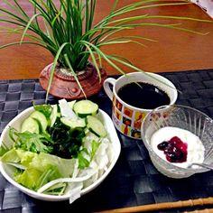 今朝も元気の源〜生野菜と乳酸菌☆〜(ゝ。∂) - 33件のもぐもぐ - 水菜ミックスサラダ&ベリーヨーグルト☕ by manilalaki