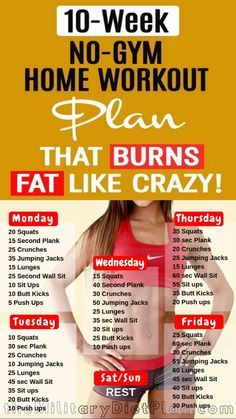 If you want to lose weight, gain muscle or get fit check out our men's and women's workout plan for you, Here are 10-Week No-Gym Home Workout Plan  that can be done at home with no equipment.