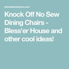 Knock Off No Sew Dining Chairs - Bless'er House and other cool ideas!