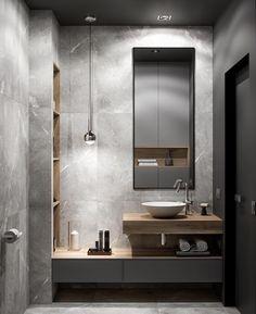 Contemporary Grey Bathrooms, Grey Bathrooms Designs, Bathroom Design Luxury, Bathroom Layout, Modern Bathroom Design, Bathroom Ideas, Bathroom Organization, Modern Contemporary, Bathroom Grey