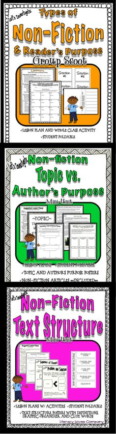 Non-Fiction Lessons!  Types, Topics, Author's Purpose, text structure!  For the active classroom!  $  Three Separate products!