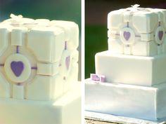 Companion cube wedding cake