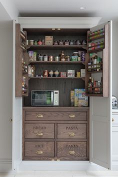 This cook's pantry in this kitchen project is ideal for storing spices, dried go… - Kitchen Pantry Cabinets Kitchen Pantry Cupboard, Small Kitchen Pantry, Kitchen Appliance Storage, Open Plan Kitchen Living Room, Kitchen Pantry Design, Kitchen Dining Living, Kitchen Cupboards, Kitchen Ideas, Kitchen Cook