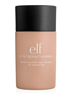 E.L.F. Acne Fighting Foundation Spiked with salicylic acid, witch hazel, tea tree oil, and aloe, this drugstore foundation gently treats zits without drying out skin.  E.L.F. Acne Fighting Foundation, $6 (elfcosmetics.com).