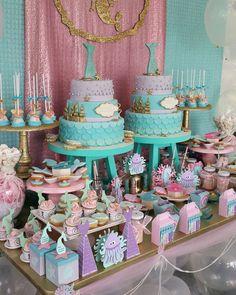 Pastel Little Mermaid Birthday Party Mermaid Party Favors, Mermaid Theme Birthday, Little Mermaid Birthday, Little Mermaid Parties, Baby Shower Party Favors, Girl Birthday, Cake Birthday, Party Fiesta, Festa Party