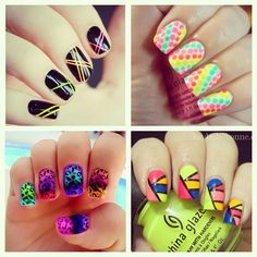 Fun nail art ideas to try using the upcoming Summer Neons collection #viapinterest #chinaglaze #summer #neons #2012 #nailpolish #nailart #ideas