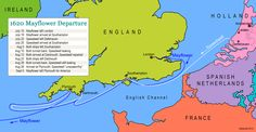 Pilgrims Mayflower Voyage | Voyage Map from Holland to England