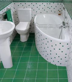 white & green tiles bathroom room design #KBHomes