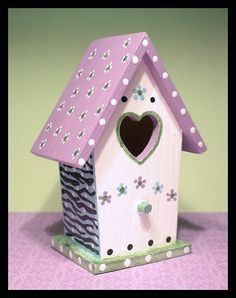 Small Birdhouse Lavender Hand-painted by WhippinUpWhimsey on Etsy