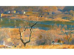 """""""Over at Byram"""" by Daniel Garber of Lumberville is on loan to the State Museum in Harrisburg as part of Tom Wolf's Inaugural Exhibit."""