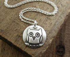 Silver owl necklace number 2 on silver chain by lulubugjewelry, $38.00