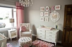Light pink, grey, white, my nursery will have dark brown and mint too
