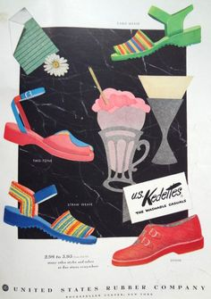 Ad Campaign – Kedettes, 1950s  | The Vintage Traveler shoes casual sportswear sandals canvas red blue green