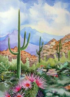Original watercolor painting of the Arizona desert landscape Barbara Ann Spencer Jump Art Watercolor, Watercolor Landscape Paintings, Watercolor Cactus, Landscape Art, Desert Landscape, Water Color Painting Landscape, Watercolor Portraits, Abstract Paintings, Oil Paintings