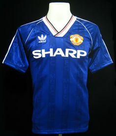 3in1 Football  Manchester United 1988-90 Blue 3rd Away Shirt Retro  Football 18dfc51d9