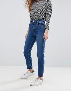 Asos FARLEIGH High Waist Slim Mom Jeans in Blossom Dark Wash