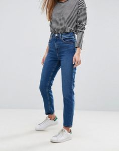 462ecf4b595f0 Asos FARLEIGH High Waist Slim Mom Jeans in Blossom Dark Wash Jeans  Boyfriend