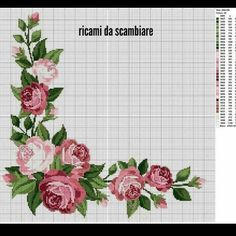 Rose Motif for Tablecloth 2 Cross Stitch Pattern Xmas Cross Stitch, Cross Stitch Kitchen, Cross Stitch Rose, Cross Stitch Borders, Cross Stitch Flowers, Cross Stitch Charts, Cross Stitch Designs, Cross Stitching, Cross Stitch Embroidery