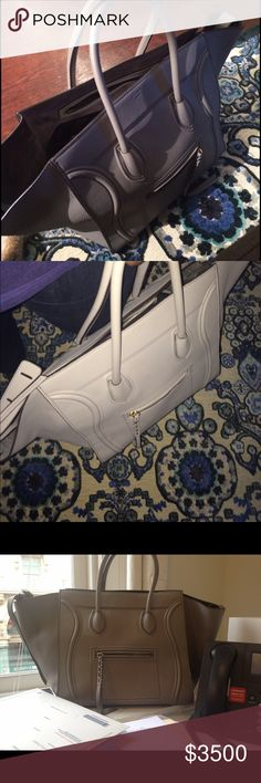 Large pearl gray leather CELINE Phantom Preowned but lots of life left. Not worn very often. Great condition. I believe this is the largest phantom. Please ask all questions before offer or purchase. Price negotiations via offer button only. Celine Bags Totes