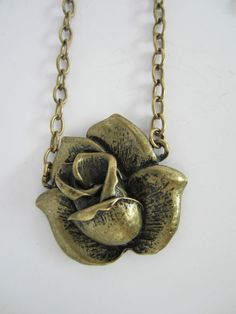 Floral Pendant Necklace Rose Brass Metal Chain Vintage Style Flower