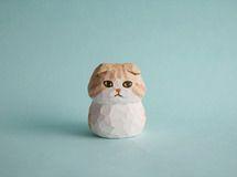 木彫り人形 スコティッシュフォールド 薄茶×白 [MWF-038]