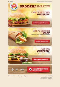 """Kolejny przykład """"apetycznego"""" newslettera przygotowanego przez Sendingo dla marki Burger King®. Poza prawidłowym zakodowaniem szablonu newslettera, zakres naszych obowiązków obejmuje również raportowanie oraz pracę strategiczną na podstawie analizy uzyskanych wyników."""