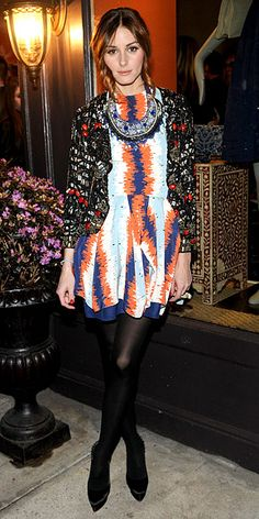 Olivia Palermo joined Roberta Freymann at her N.Y.C. boutique to launch the duo's new necklace collection—along with one of their designs, the reality star topped a Julian J. Smith dress with a Topshop jeweled jacket and finished the look with Christian Louboutin pumps and a Mulberry clutch. March 2010