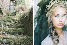Romantic gold and grey wedding ideas. Beautiful headpiece and braid.