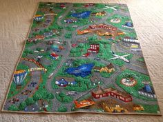 """""""I love stkr.it! When our grandson comes to visit he likes to play with his matchbox cars. I made this roadway quilt for him. When I found stkr.it  I used the iron on sticker and had grandpa record a little something on it for him. It is great!"""""""