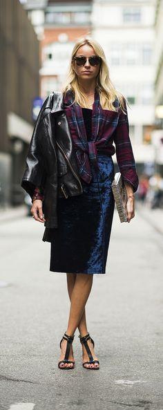 Lust-worthy midnight blue velvet dress + plaid shirt + moto jacket