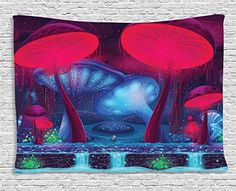 Mushroom Decor Tapestry by Ambesonne, Magic Mushrooms with Vibrant Neon Lights Graphic Image Enchanted Forest Theme Print, Wall Hanging for Bedroom Living Room Dorm, X Inches, Blue and Red Alice In Wonderland Scenes, Wonderland Party, Enchanted Forest Theme, Birthday Party Photography, Scene Setters, Mushroom Decor, Tea Party Decorations, Wall Decorations, Were All Mad Here