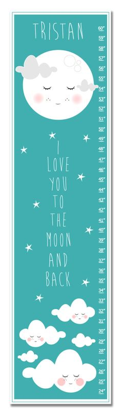 Children's Growth Chart - Nursery Art - I Love You To The Moon and Back Pink Personalized with name Growth Chart by KZukowski on Etsy https://www.etsy.com/listing/221626581/childrens-growth-chart-nursery-art-i