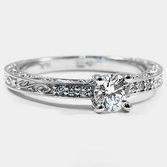 18K White Gold Delicate Antique Scroll Ring // Set with a 0.38 Carat, Round, Super Ideal Cut, G Color, IF Clarity Diamond #BrilliantEarth