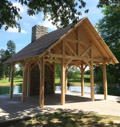 Heavy timber pavilions make excellent waterfront retreats.