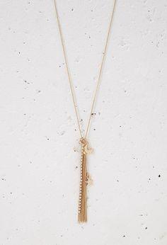 Longline Tassel Charm Necklace | Forever 21 - 1000115378