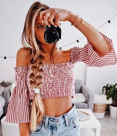 Cute off the shoulder cropped top .