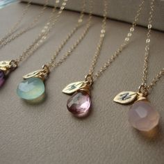 Bridesmaids Necklaces SET of FIVE - Stone and Initial ALL Gold Filled Lovely Gift, Bridal Party, Stamped Leaf, maid of honor, on Etsy, ¥15,425.53