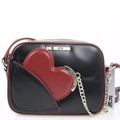 Cross body Shoulder bag Love Moschino Black with red heart JC4237 tasche
