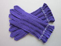 Gloves For Women Wool Lace Gloves Dark Lavender by AnitasHandmade