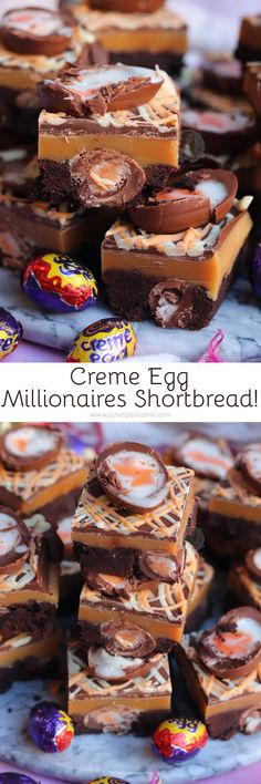Chocolate Shortbread stuffed with Mini Creme Eggs, Homemade Caramel, and Even more Chocolate Creme Egg Goodness! This post may contain. Candy Recipes, Sweet Recipes, Baking Recipes, Dessert Recipes, Egg Recipes, Recipies, Yummy Treats, Sweet Treats, Kuchen