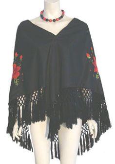 Best Black Vintage 1970s Shawl