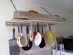 9.) Or, hang your pots and pans overhead for a neat and efficient use of space.
