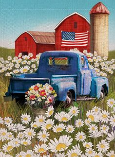 Dyrenson of July Patriotic Welcome Garden Flag Double Sided, Rustic Farm Old Red Truck House Yard Flag, Daisy Garden Yard Flower Decorations, USA Seasonal Outdoor Flag x 18 Gift Summer Painting, Autumn Painting, Red Truck Decor, Farm Paintings, Yard Flags, Truck Art, Outdoor Flags, Country Art, House Flags